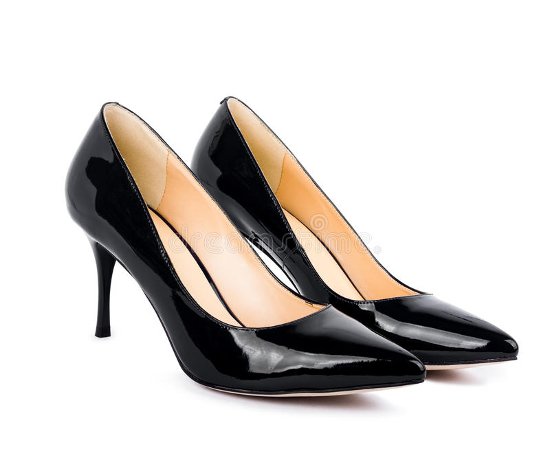 Belle scarpe classiche nere delle donne isolate fotografia stock
