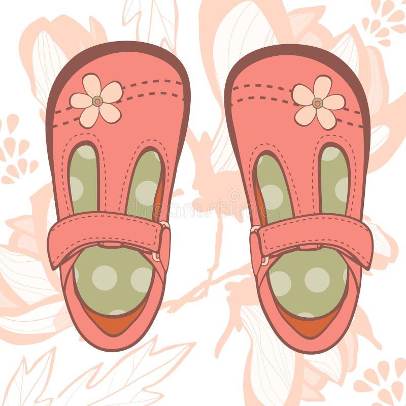 Belle scarpe della neonata illustrazione vettoriale