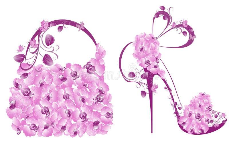Belle scarpe e borse femminili royalty illustrazione gratis
