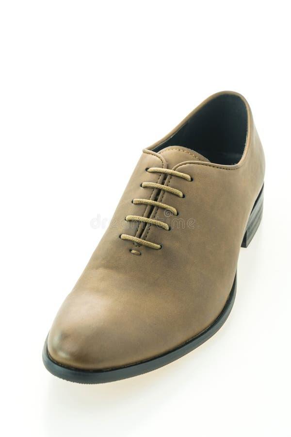 Belle scarpe marroni di cuoio degli uomini del lusso e di eleganza fotografie stock