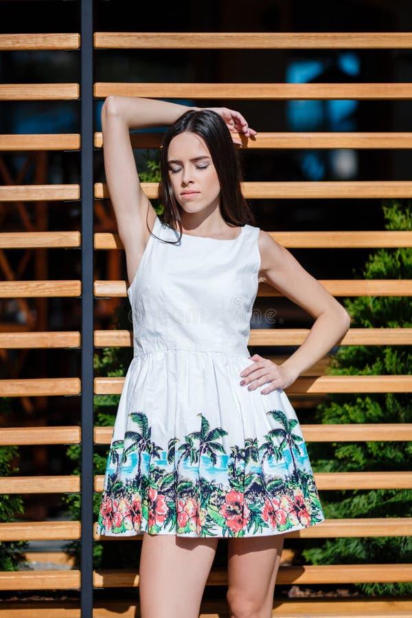 Belle, sensuelle et sexy femelle dans une robe sur la rue Femme attirante et élégante avec de longs cheveux sur urbain images stock