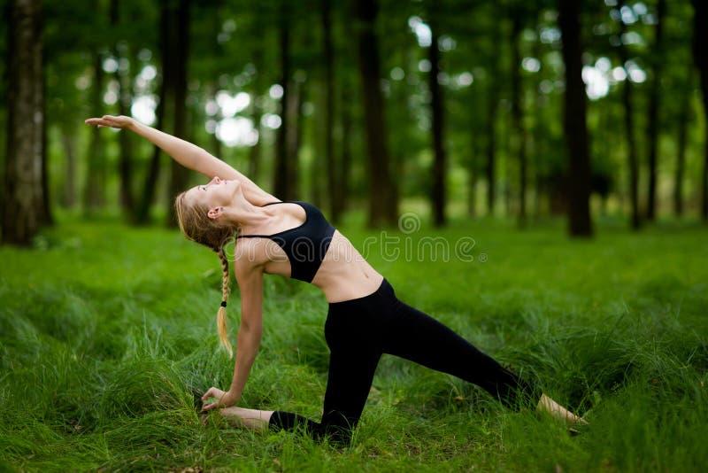 Belle session de yoga en bois photo stock