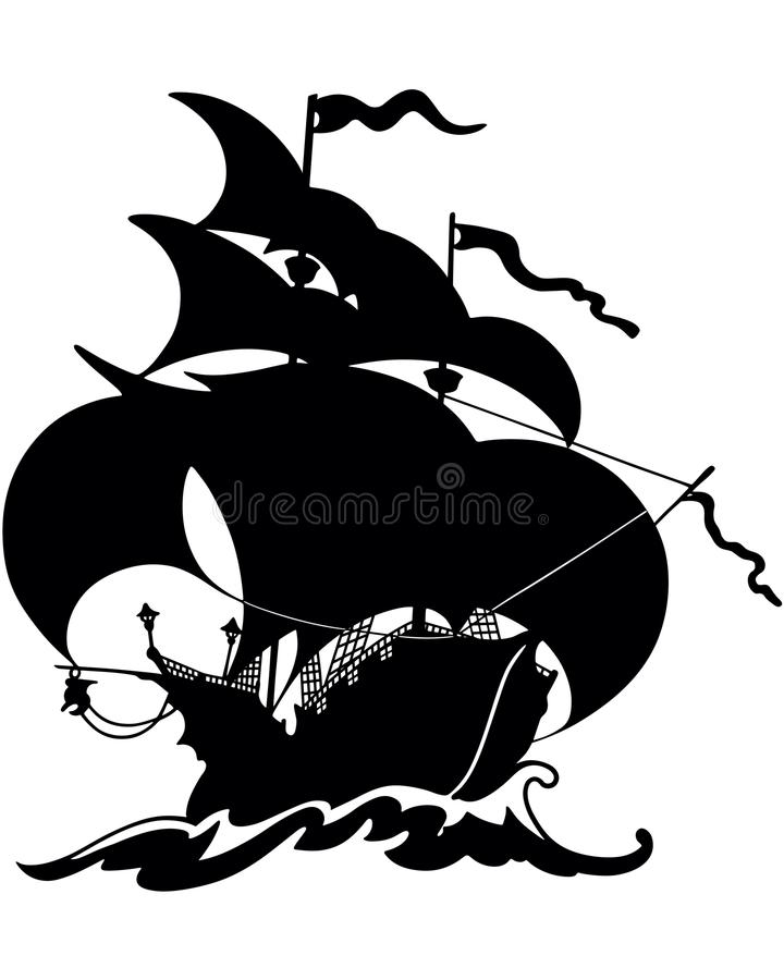 Belle silhouette de bateau de navigation illustration stock