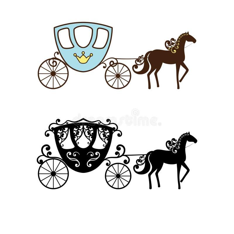 Belle silhouette de chariot de vintage avec le cheval illustration libre de droits