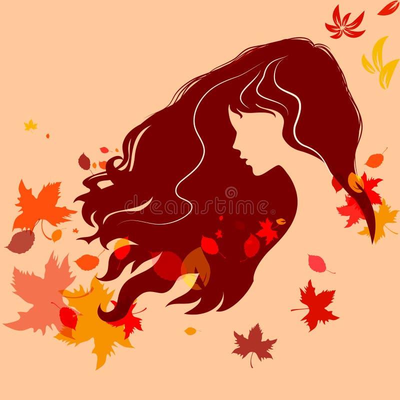 Belle silhouette de fille avec les cheveux et l'automne coloré l de vol illustration de vecteur