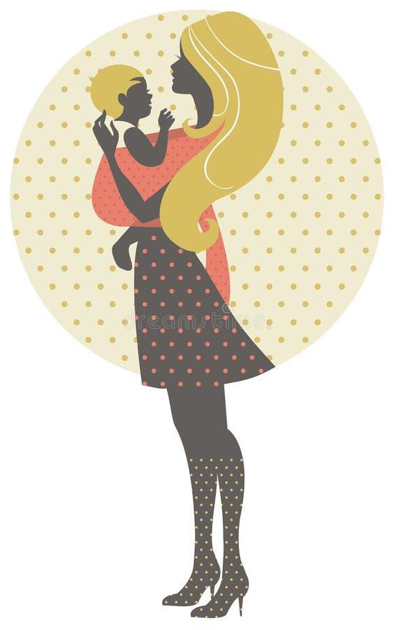 Belle silhouette de mère avec le bébé dans une bride illustration stock