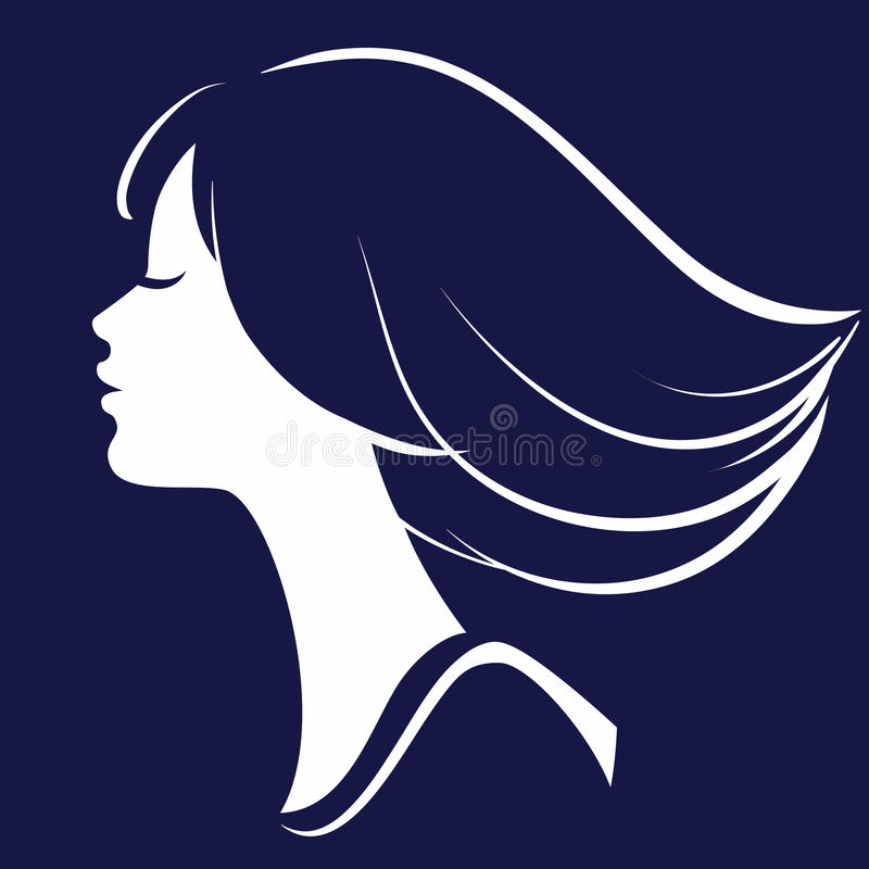 Belle silhouette de visage de fille illustration libre de droits