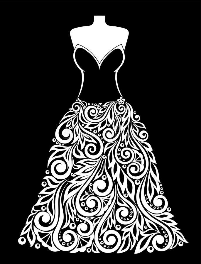 Belle silhouette noire et blanche monochrome de robe avec un élément floral illustration stock