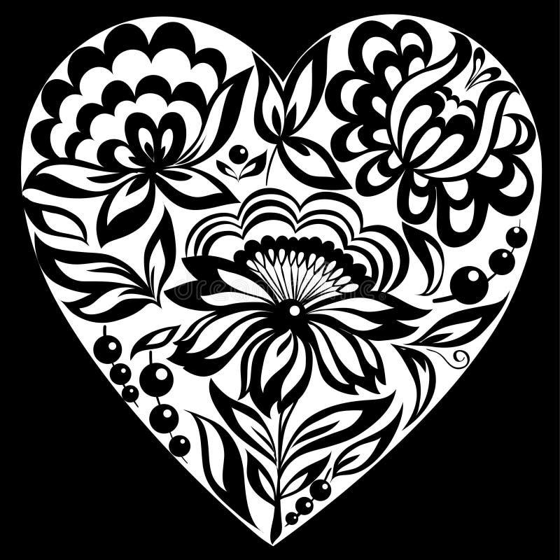 Belle silhouette noire et blanche monochrome du coeur floral illustration stock
