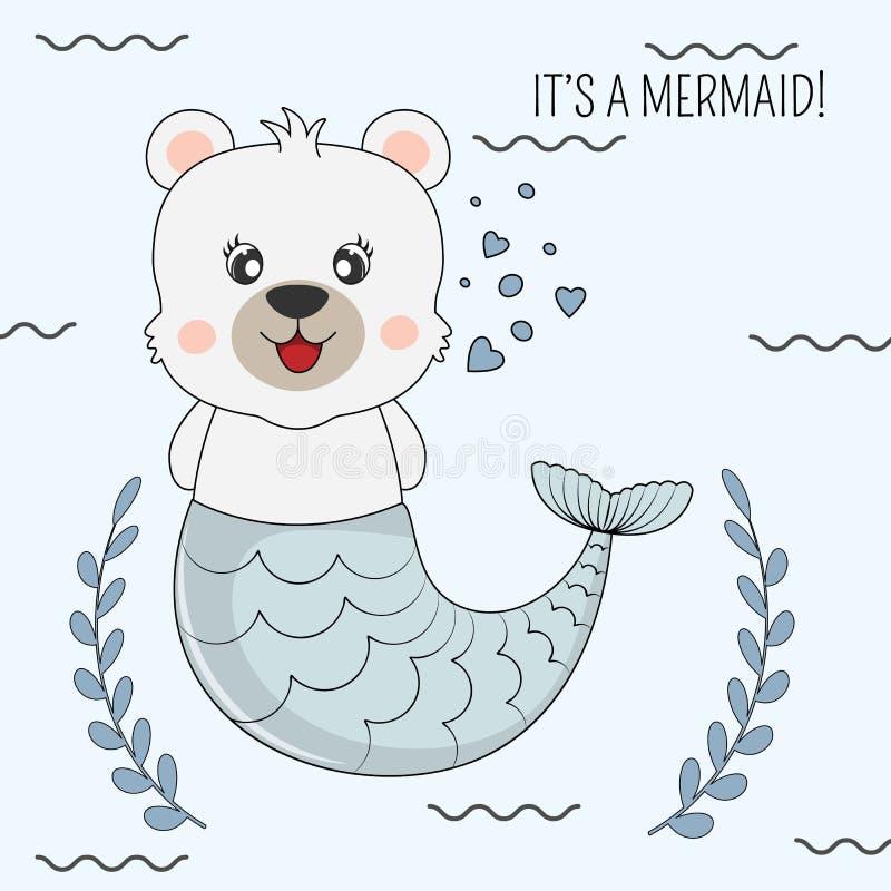 Belle sirène drôle tirée par la main d'ours sur un fond bleu d'isolement illustration stock