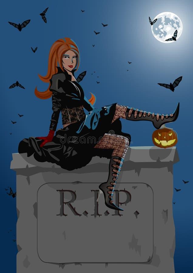 Belle sorcière s'asseyant sur la pierre tombale illustration de vecteur