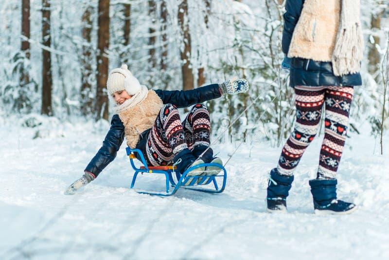 Belle sorelle dei gemelli degli adolescenti che guidano slitta e che si divertono fuori in un legno con neve Concetto di amicizia immagini stock