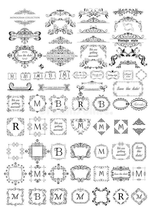 Belle strutture, scenette e raccolta delle intestazioni per il monogramma, progettazione di nozze, carta del menu, ristorante, ca illustrazione di stock