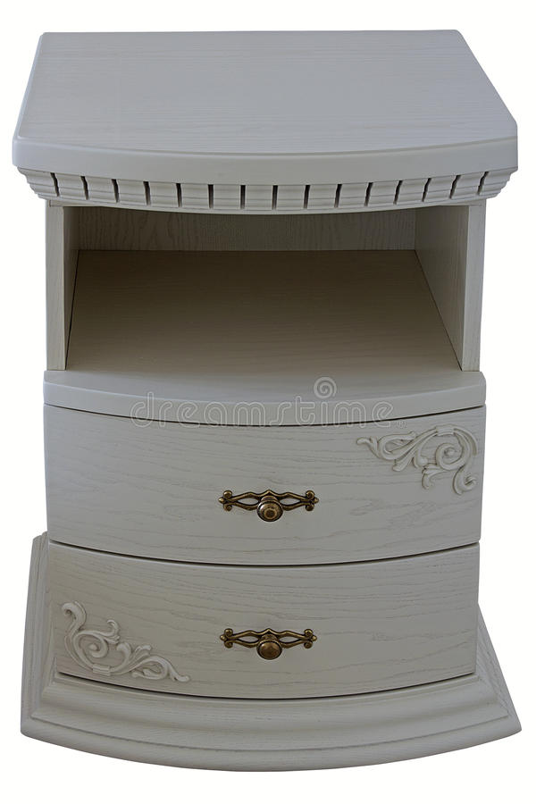 Belle table de chevet blanche en bois photographie stock