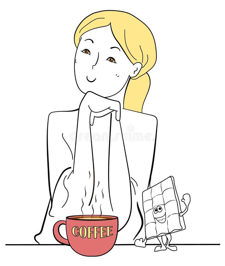 Belle tasse de café de fille, illustration de vecteur illustration de vecteur