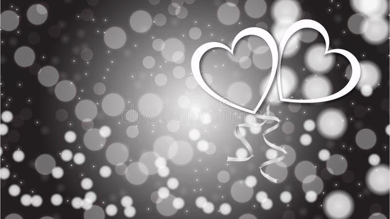 Belle texture abstraite des coeurs éclatants argentés blancs d'amour la Saint-Valentin heureuse dans le bokeh de fond illustration stock