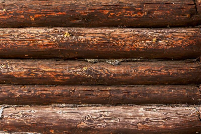 Belle texture des rondins de la vieille maison image stock