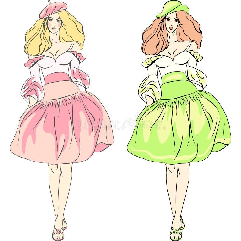 Belle top model delle ragazze di modo di vettore in vestito royalty illustrazione gratis