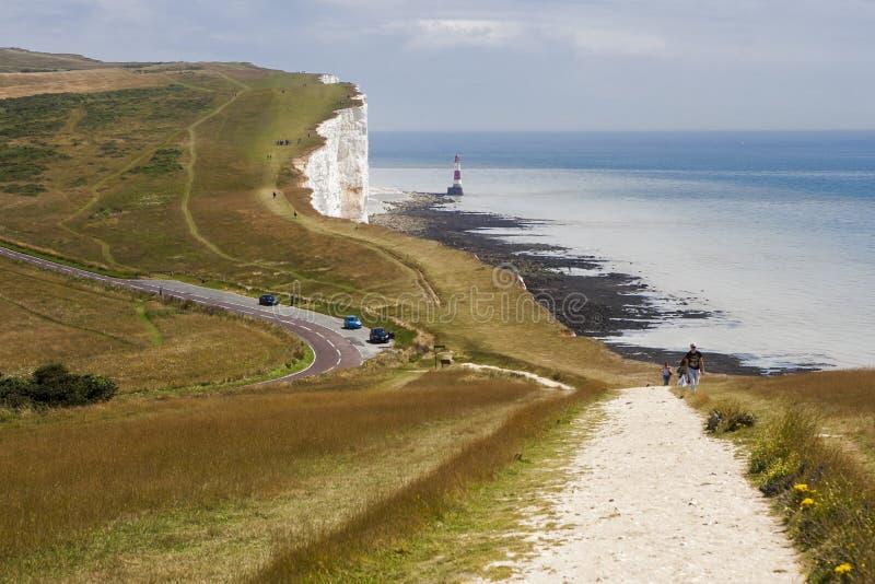 Belle Toute Lighthouse alla testa sassosa in Sussex l'11 maggio, 2 immagine stock libera da diritti