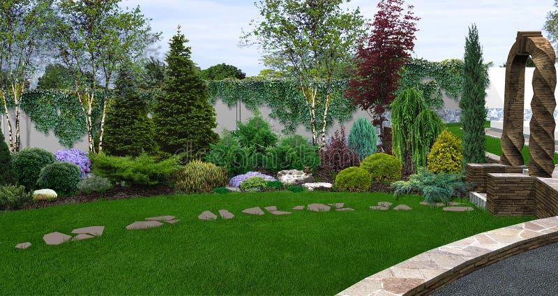 Belle trasformazioni del cortile, illustrazione 3d fotografie stock libere da diritti
