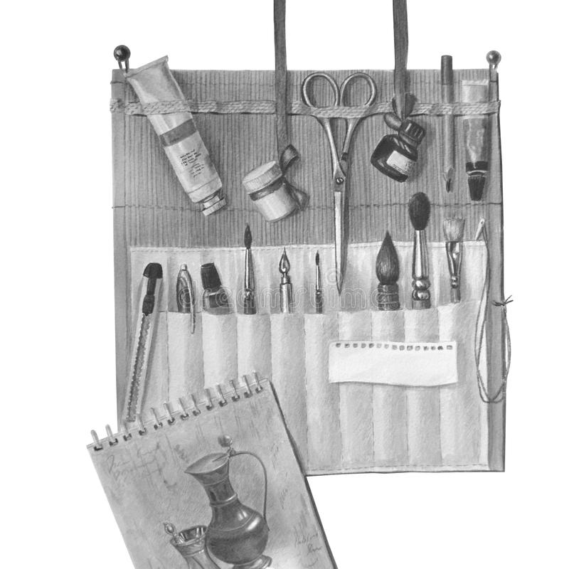 Belle trousse d'écolier avec un ensemble d'outils artistiques Composition monochrome en aquarelle illustration de vecteur