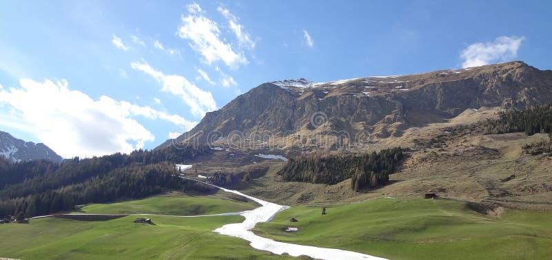 Belle vallée alpine avec le pré et les montagnes image stock