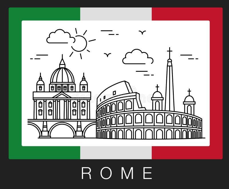 Belle vecchie finestre a Roma (Italia) Illustrazione delle viste della città royalty illustrazione gratis