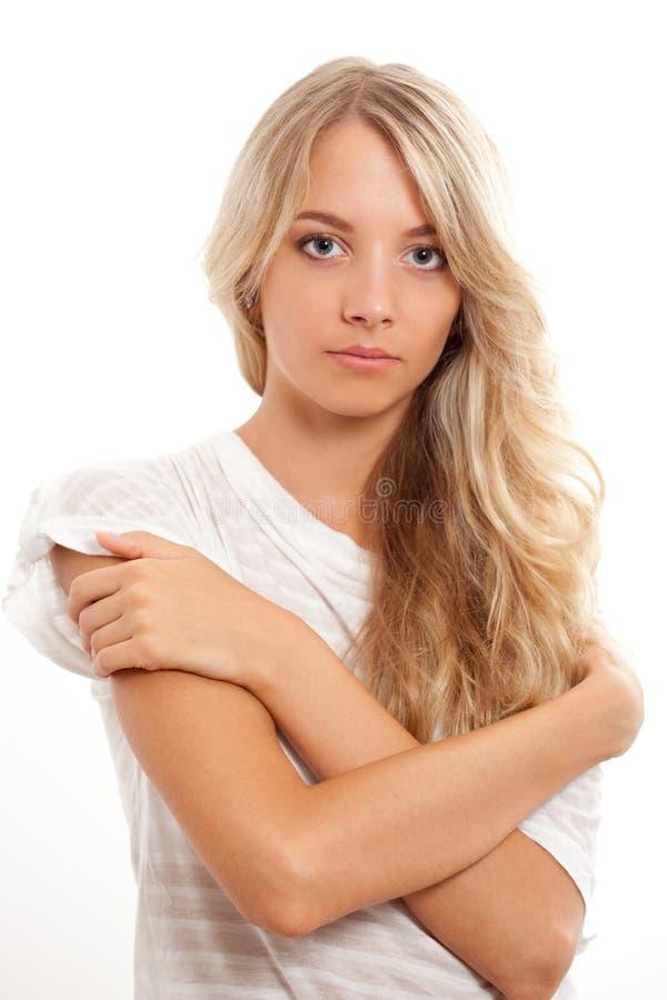Belle verticale blonde de femme image stock