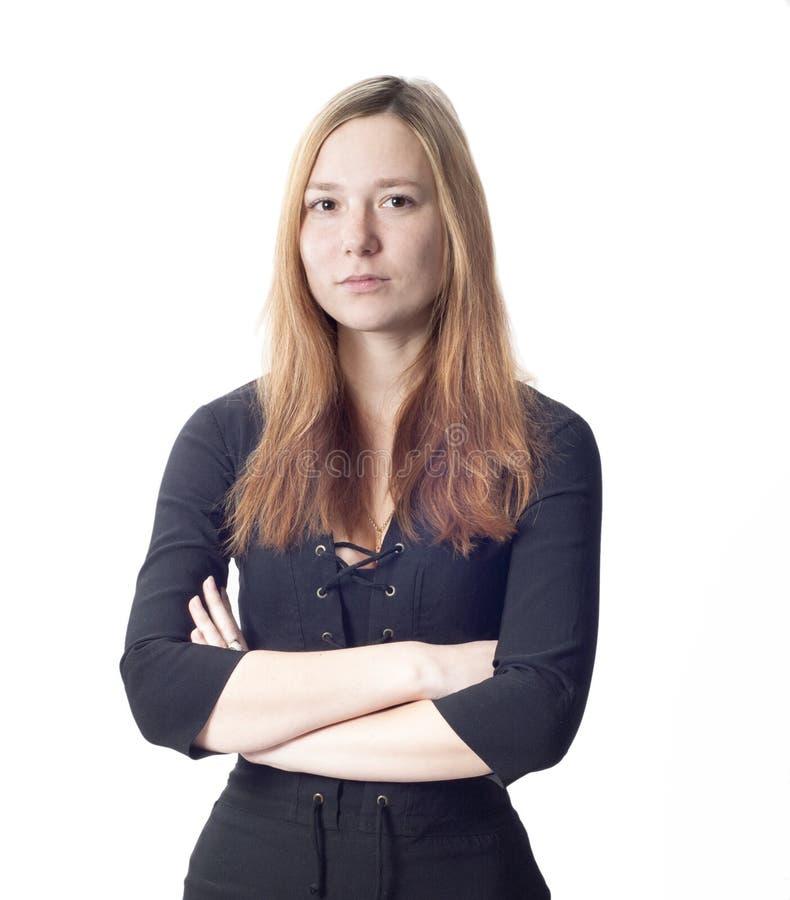 Belle verticale tendre de femme d'affaires photo libre de droits