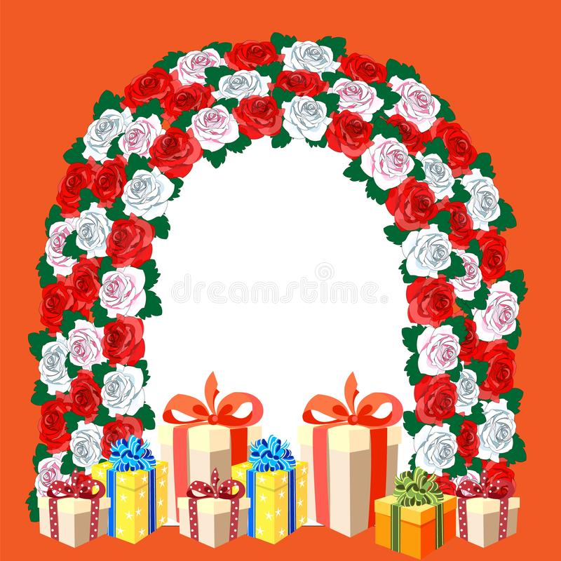 Belle voûte des fleurs Roses blanches, roses, rouges Boîte-cadeau avec les arcs et les rubans lumineux Configuration florale illustration libre de droits