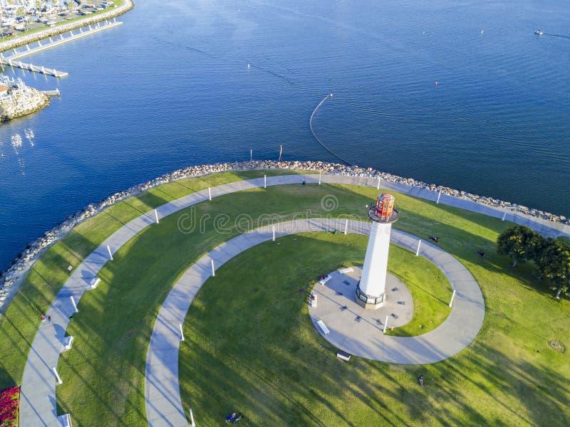 Belle vue aérienne d'après-midi autour de port d'arc-en-ciel image libre de droits