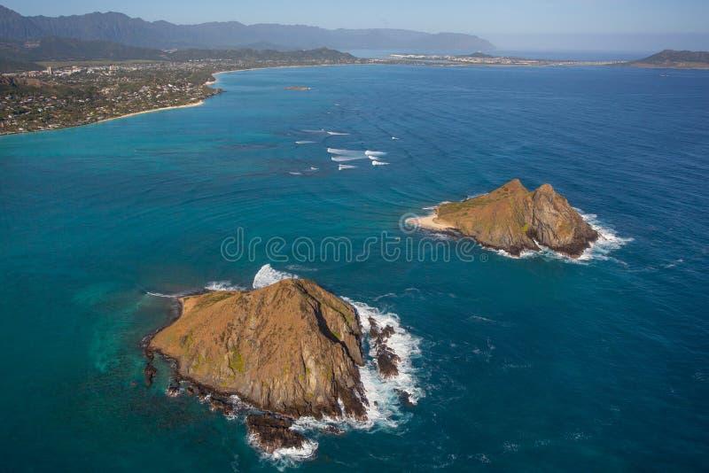 Belle vue aérienne des îles Oahu Hawaï de Moke images stock