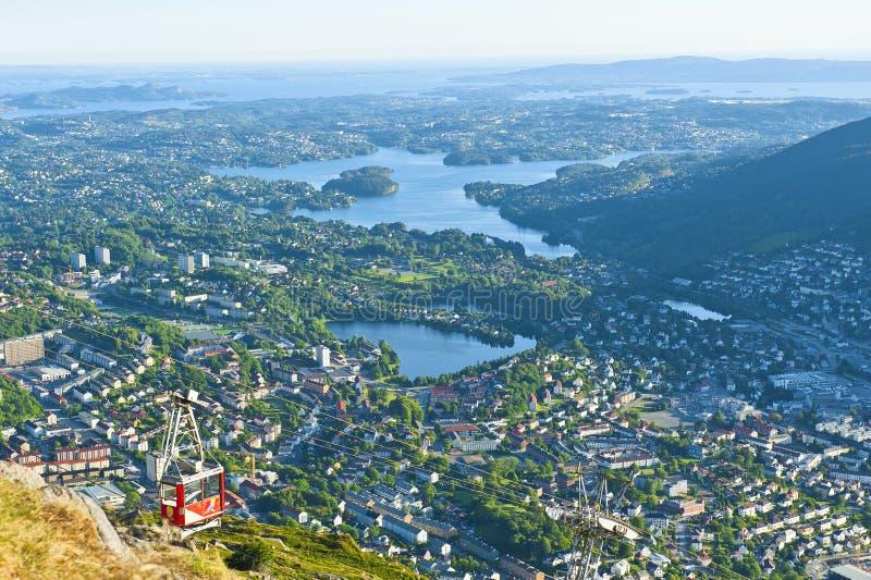 Belle vue avec le funiculaire d'Ulriken vu du bâti Ulriken à Bergen photo stock