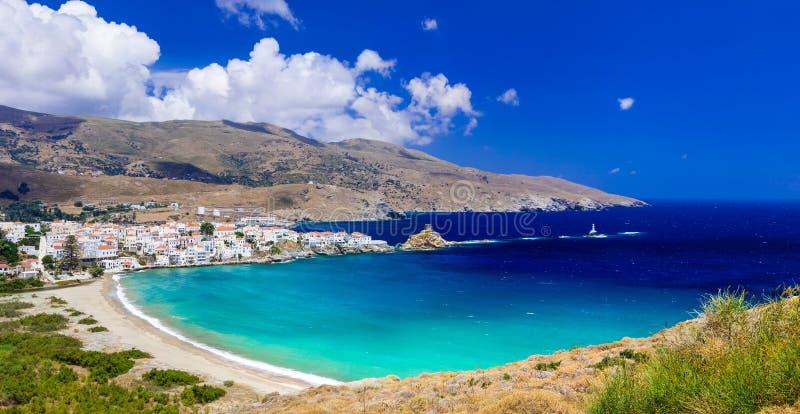 Belle vue d'Andros, de Chora et d'Azure Sea, Grèce photographie stock libre de droits