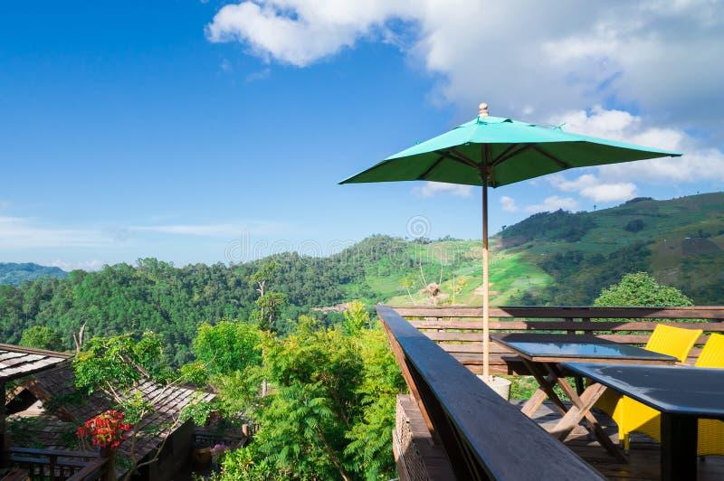 Belle vue de ciel bleu et de forêt verte de montagne sous le vert photo stock