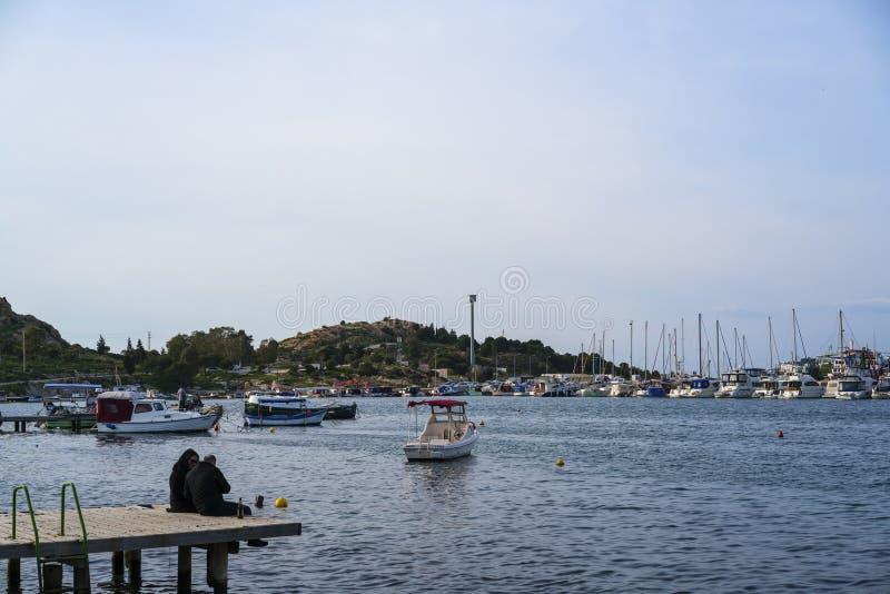 Belle vue de la FOCA de Phokaia, Izmir, dinde photographie stock