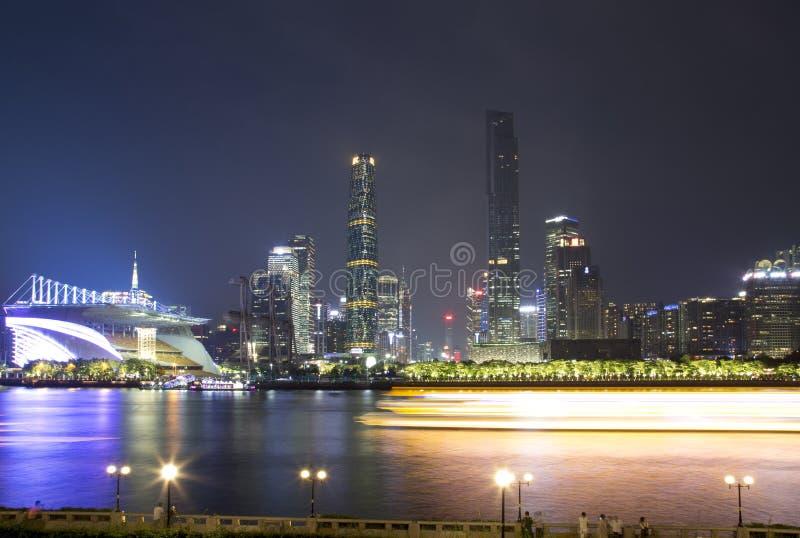 Belle vue de nuit de parc de Guangzhou Haixinsha images libres de droits