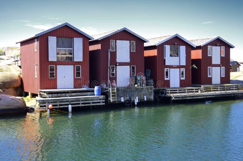 Belle vue de paysage de pêcher des maisons images libres de droits