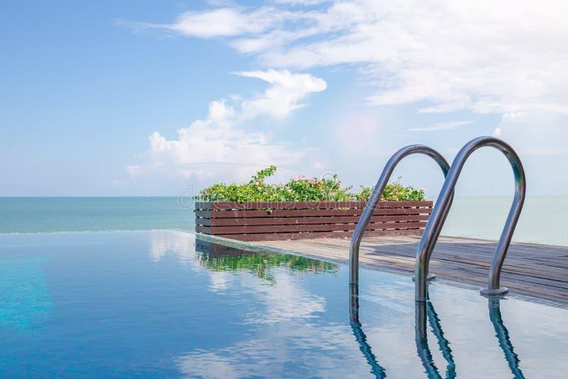 Belle vue de piscine d'infini photographie stock libre de droits