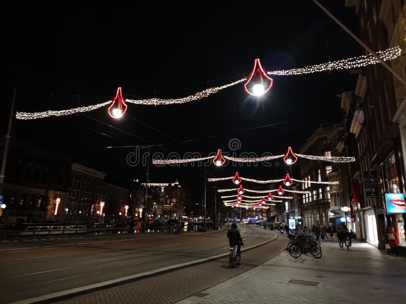 Belle vue de rue de zone rouge d'Amsterdam en Hollande, Pays-Bas image libre de droits