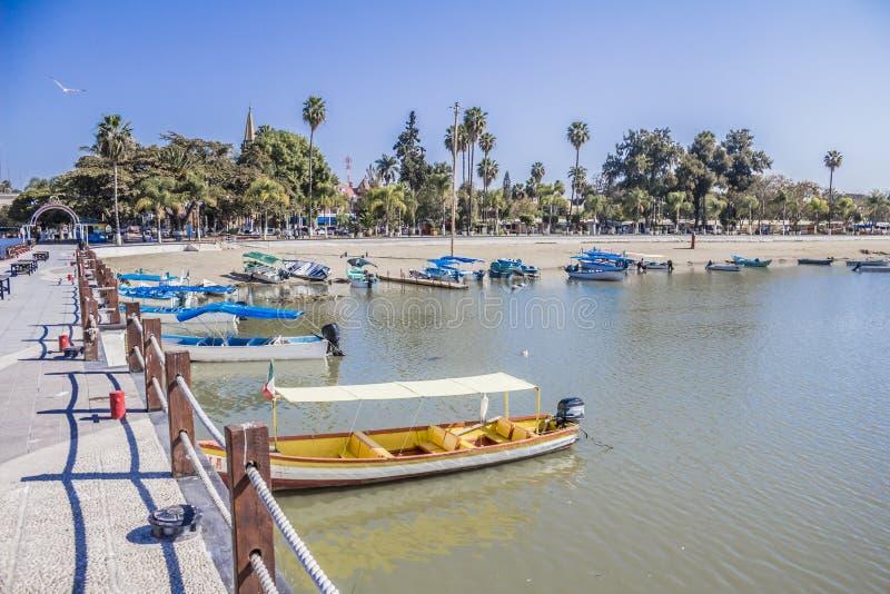 Belle vue des bateaux sur un pilier avec la paume dans le lac Chapala images libres de droits
