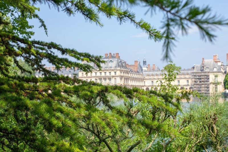 Belle vue du palais par les branches du mélèze image stock