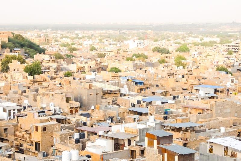Belle vue du paysage urbain de Jaisalmer image stock