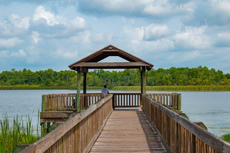 Belle vue du pilier et du lac bleu 1 photos libres de droits