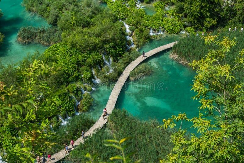 Belle vue en parc national de lacs Plitvice Croatie images libres de droits