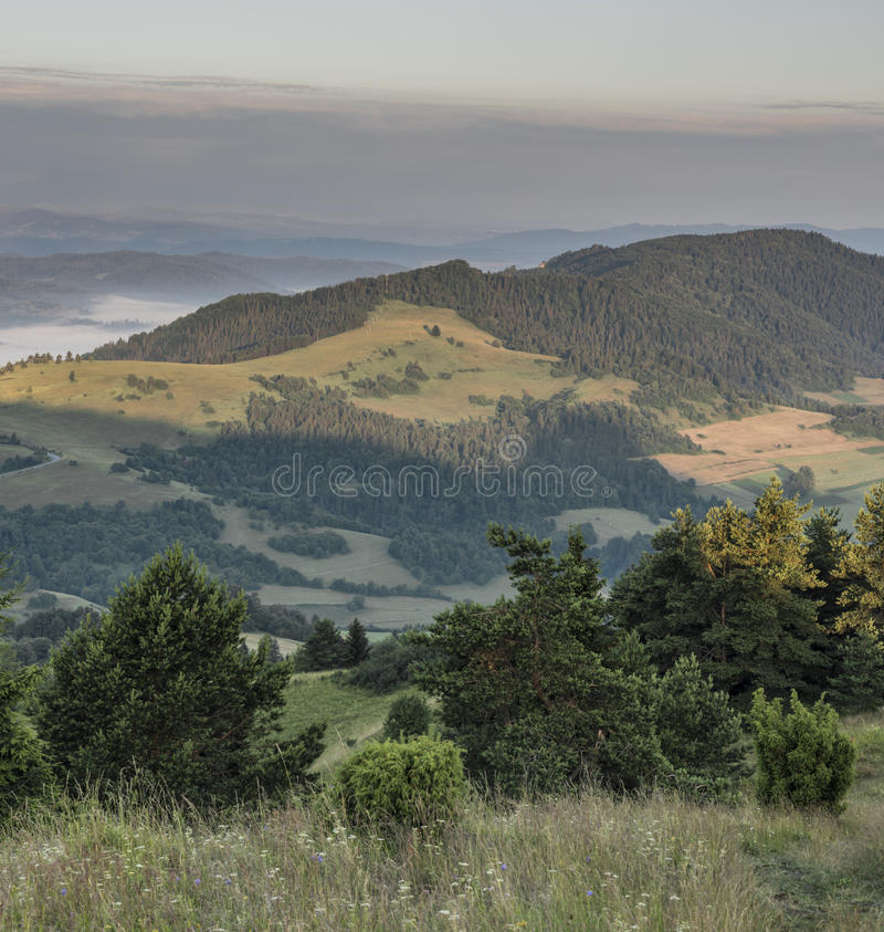 Belle vue en parc national de Pieniny photo stock