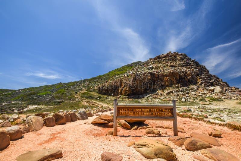 Belle vue grande-angulaire d'une promenade scénique chez le Cap de Bonne-Espérance sur le Péninsule du Cap près de Cape Town images stock
