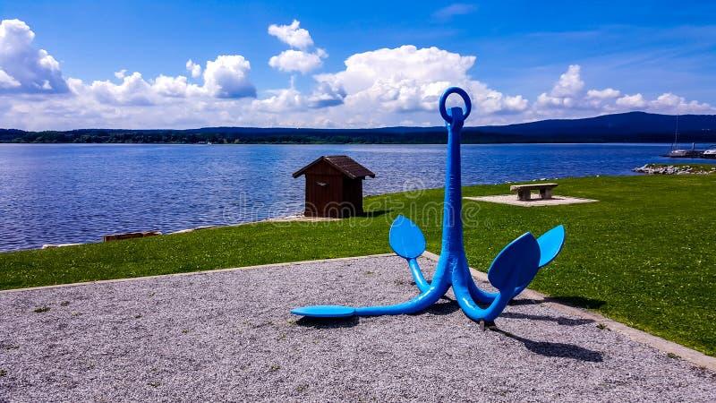 Belle vue même de lac Lipno dans la République Tchèque image libre de droits