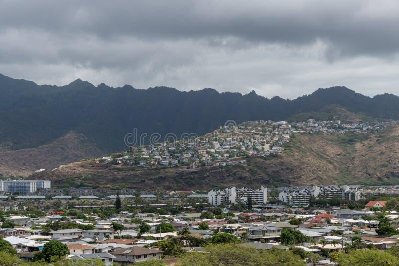 Belle vue panoramique d'Hawaï Kai sur Oahu image libre de droits