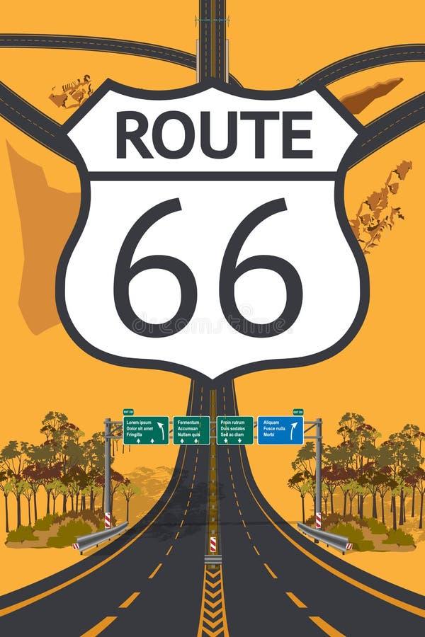 Belle vue supérieure aérienne de route Concept de Route 66 illustration stock